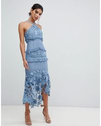 True Decadence - Sleeveless Premium Lace Midi Dress With High Low Hem In Slate Blue - Lyst