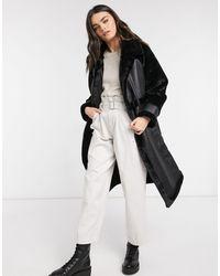 Vila Longline Oversized Faux Fur Coat With Paneled Detail - Black