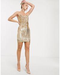 Goddiva Sweetheart Neck Sequin Mini Dress - Metallic