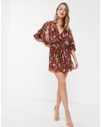 ASOS - Mixed Pleat Dome Sleeve Mini Dress - Lyst