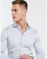 ASOS Skinny Fit Sateen Shirt With Penny Collar - Blue