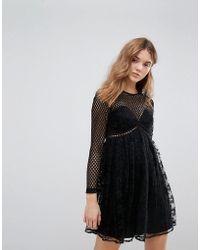 New Look - Fishnet Lace Pleat Dress - Lyst