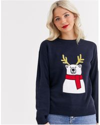 Brave Soul Polar Bear Christmas Jumper With Sequin Antlers - Blue