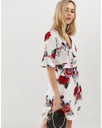 Angeleye 3/4 Sleeve Floral Wrap Dress - Multicolour