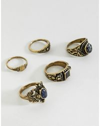 ASOS - Chunky Ornate Ring Pack With Stones In Burnished Gold - Lyst