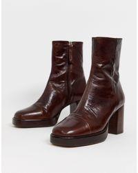 ASOS Коричневые Кожаные Премиум-ботинки На Платформе - Коричневый