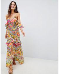 710b254505 ASOS - Cuban Tile Print Off Shoulder Bardot Frill Maxi Beach Dress - Lyst