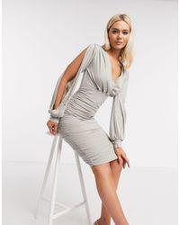 AX Paris - Серебристое Платье Миди -серебряный - Lyst