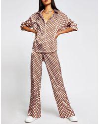 River Island Коричневая Атласная Рубашка С Геометрическим Принтом -коричневый