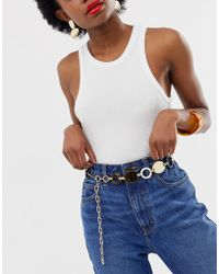 ASOS - Plate And Tort Ring Chain Waist And Hip Belt - Lyst