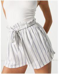 Hollister Striped Tie Waist Short - White