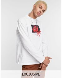 Collusion Oversized Long Sleeve T-shirt With Print - Gray