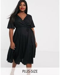 Simply Be Skater Midi Dress With Flutter Sleeve - Black