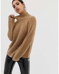 NA-KD - High Neck Balloon Sleeve Jumper In Brown - Lyst