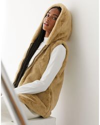 ONLY Faux Fur Gilet - Natural