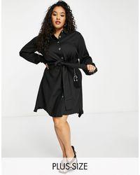 Elvi Vestido camisero - Negro
