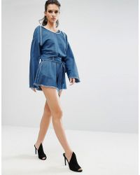 Kendall + Kylie - Frayed Chambray Shorts - Lyst