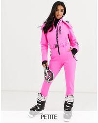 ASOS 4505 Приталенный Горнолыжный Костюм С Искусственным Мехом На Капюшоне И Поясом Petite Ski-розовый