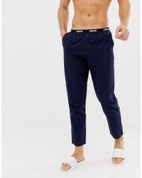 ASOS Geweven Rechte Pyjamabroek In Marineblauw