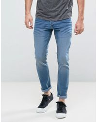 Solid - Slim Fit Jeans In Light Wash Blue With Stretch - Lyst