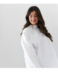 ASOS - Asos Design Curve Super Oversized Lightweight Sweatshirtshirt In White - Lyst