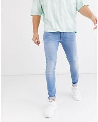 Jack & Jones Intelligence – Liam – Eng geschnittene Stretch-Jeans - Blau