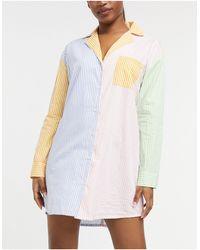 Daisy Street Ночная Oversized-сорочка В Стиле Колор Блок Из Ткани В Полоску Пастельных Тонов -многоцветный