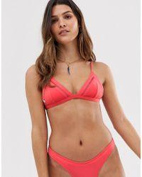 Rhythm My Bralette Bikini Top In Nectarine - Red