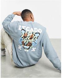 ASOS – Wendbares Oversize-Sweatshirt aus Fleece - Grau