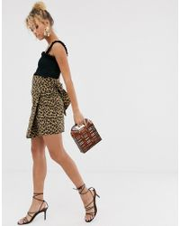Never Fully Dressed Wrap Front Asymmetric Skirt In Leopard - Multicolor
