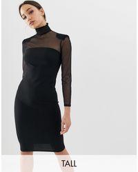 John Zack Mesh Sleeve Bodycon Dress - Black