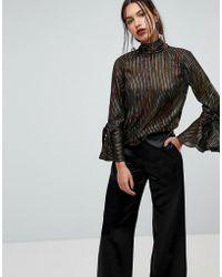 Warehouse Rainbow Shimmer Stripe Flared Sleeve Blouse - Black
