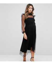 GeBe Maternity - Midi Dress In Spot Mesh And Long Sleeve - Lyst