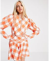 John Zack - Эксклюзивное Оранжевое Приталенное Платье Мини В Клетку С Глубоким Вырезом -multi - Lyst