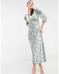 Ghost Essie - Robe mi-longue avec col et motif à fleurs - Bleu