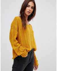 Missguided - Off Shoulder Cable Knitted Jumper - Lyst