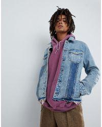 Mennace - Denim Jacket In Midwash Blue With Contrast Panels - Lyst