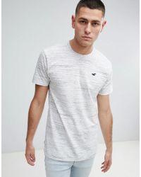 Hollister - Longline Crew Neck T-shirt Seagull Logo In White Marl - Lyst