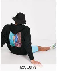 Reclaimed (vintage) Hoodie oversize en coton biologique à imprimé Van Gogh - Noir