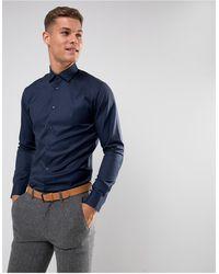 SELECTED - Темно-синяя Облегающая Строгая Рубашка Из Легко Гладящейся Ткани -темно-синий - Lyst