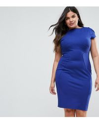 Closet London Plus - Pencil Dress With Ruched Cap Sleeve - Lyst