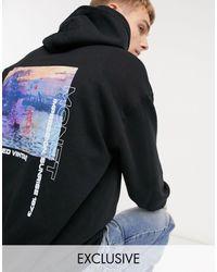 Reclaimed (vintage) Inspired Hoodie With Back Monet Print - Black