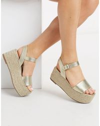 Miss Selfridge Flatform Sandals - Metallic