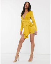 Missguided Peace And Love Satin Drape Pleated Blazer Dress - Yellow