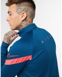 Nike Football Dry academy - Top blu a maniche lunghe con zip corta