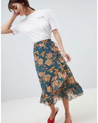 Vila - Floral Midi Skirt With Ruffle Hem - Lyst