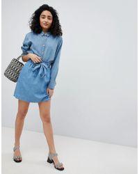 New Look - Denim Paperbag Waist Skirt - Lyst