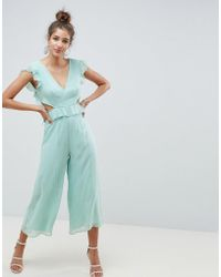 ASOS - Cut Out Jumpsuit With Soft Ruffles - Lyst