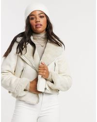 Stradivarius Crop Faux Leather Aviator Jacket With Borg - Natural