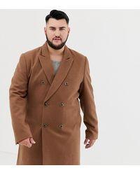 ASOS Двубортное Пальто С Добавлением Шерсти - Коричневый